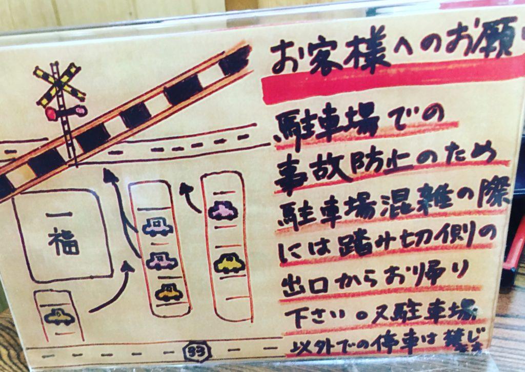 うどん一福(香川)の駐車場注意書き