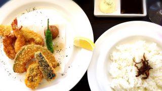 タイムアフタータイムの淡路産カマス・ハモ・エビと野菜のミックスフライランチ
