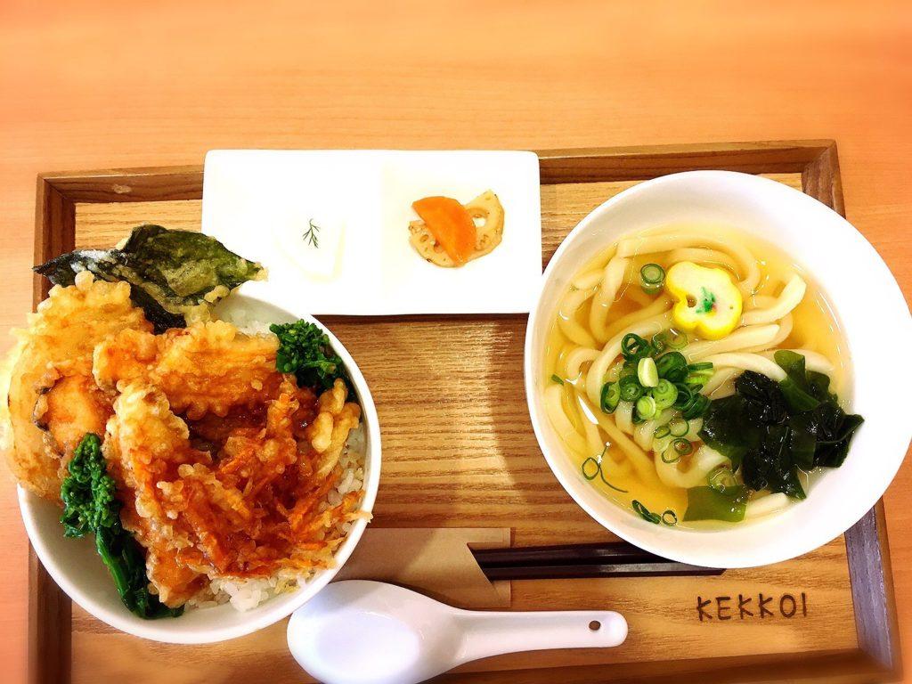 kekkoiのサクラマス天丼とうどんセット