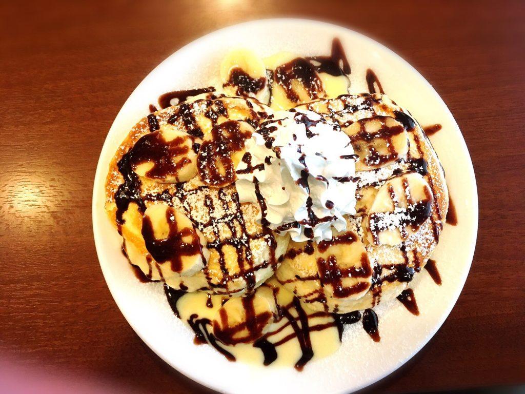 わかばカフェのチョコバナナパンケーキ