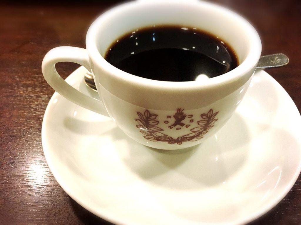 コンパルメイチカ店のモーニングセットのホットコーヒー