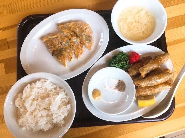 餃子酒房丈夫の餃子定食(鶏皮餃子としそ餃子)