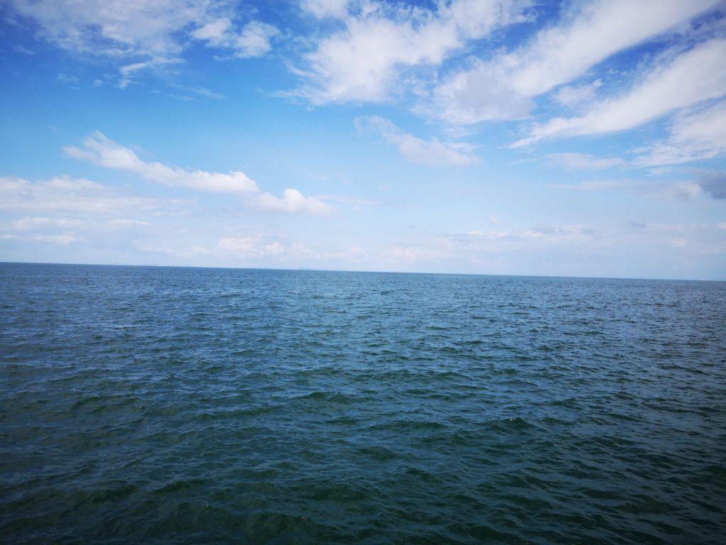 ツバス47cmとサゴシ53cmを釣った真昼間の海と青空と雲(2018.9)