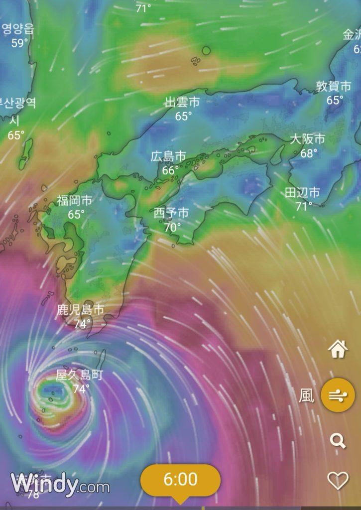 台風24号の接近図(2018.9)