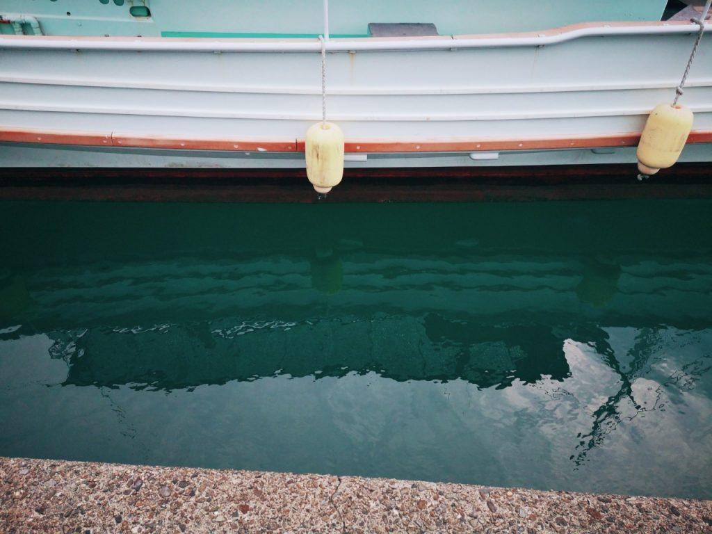 メッキ15cm以下を釣った漁港の係留船(2019.10)