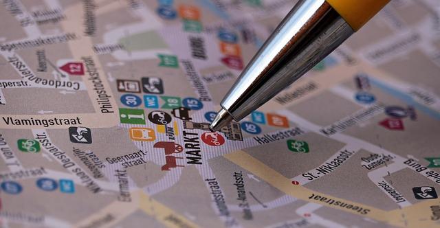 エリアやポイントを選定する地図マップ