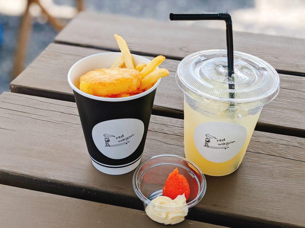 福良CAPレッドワゴンのドリンクセット(フライドポテト明太マヨネーズとグレープフルーツジュース)